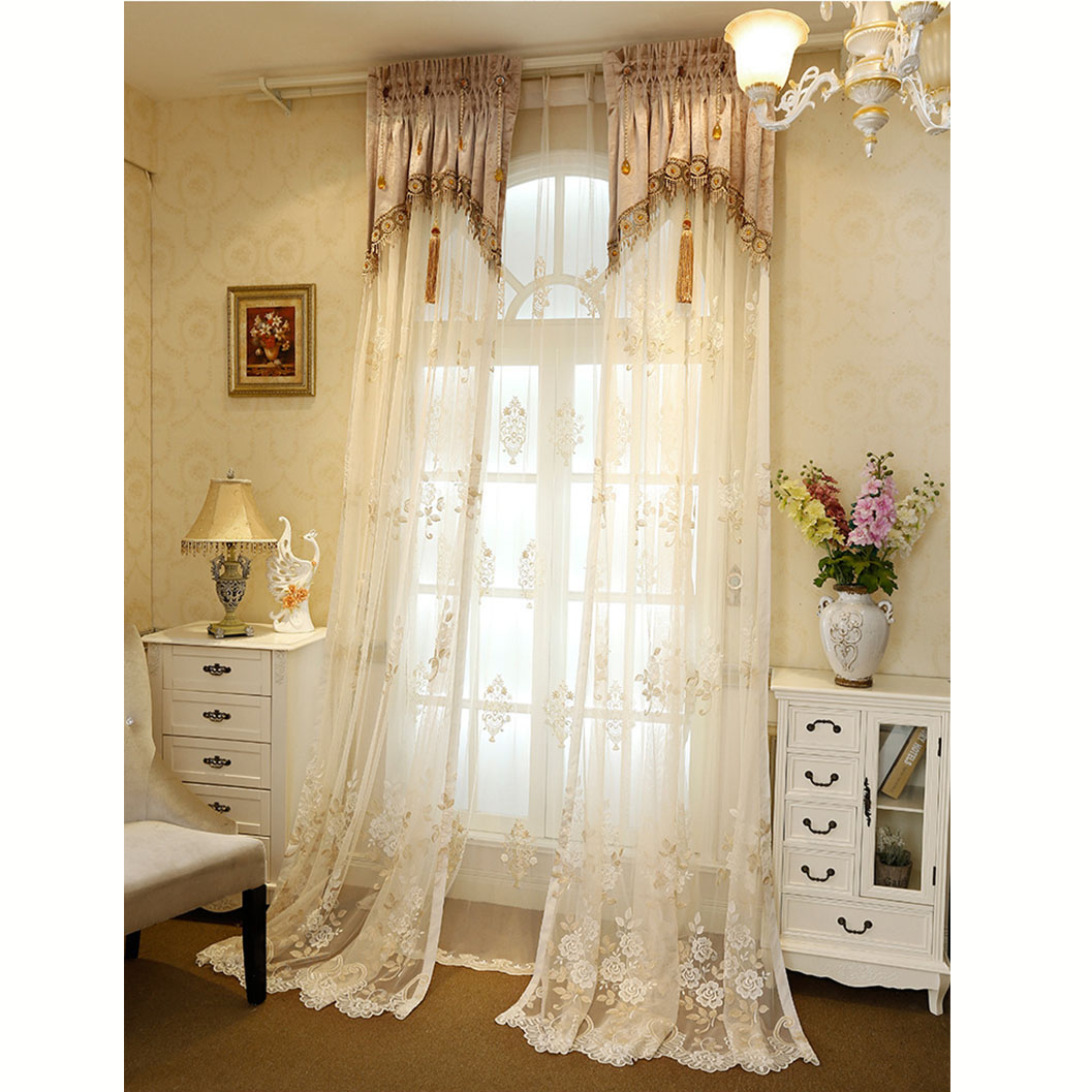European home accessories embroidered curtain fabric silk valances church curtains, lace window curtain fabrics in turke