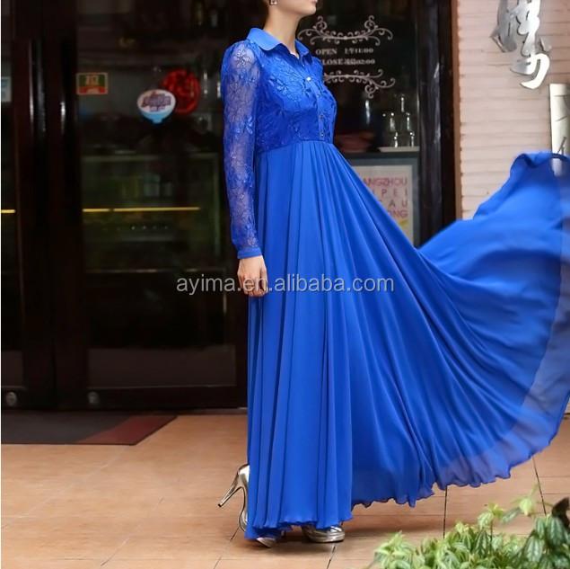 c45c788e5e6 hot selling lace long sleeve maxi dress plain navy chiffon muslim women  long dress muslim long
