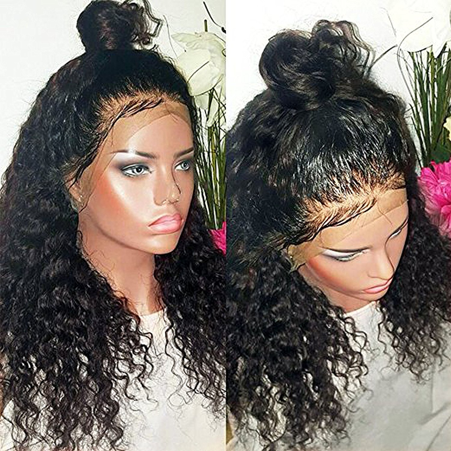 Rishang Hair 360 Lace Frontal Wig Pre Plucked 180% Density Human Hair Wigs for Black Women Wet Wavy Lace Front Wig with Baby Hair(18 inch with 360 lace frontal wig,180 density)
