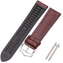 HENGRC воловья кожа и силиконовый ремешок браслет 18 20 22 мм Мужские и женские водонепроницаемые дышащие Ремешки для наручных часов аксессуары д...(Китай)