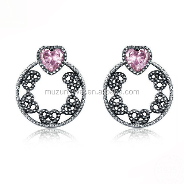 Hot Seller 100% 925 Sterling Silver Pink&Clearly AAA CZ Sweet Heart Dual-use Stud Earrings
