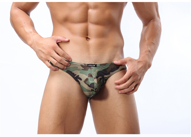 HOT SALE Men's Camouflage Sexy Low-Rise G-Strings Thongs Men's Underwear thong lingerie Shorts Sexy tanga bragas panties No.219