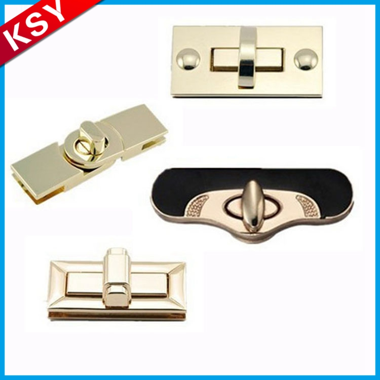 Customized Gold Fashion metal bag lock for leather bags