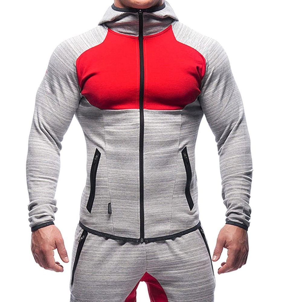 Wholesale color block muscle fit sports mens pullover zip up gym hoodie