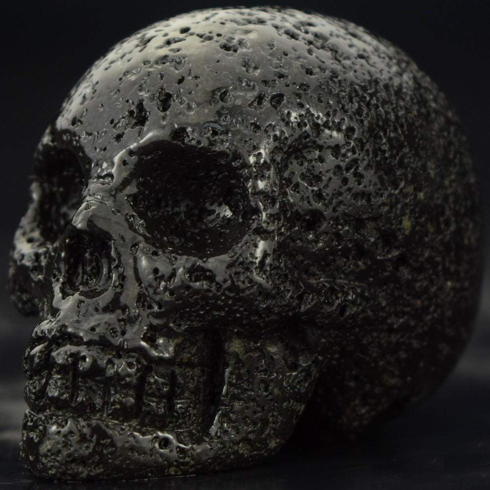 natural carved 2 inch lava rock gemstone skull craft for healing, reiki, decor