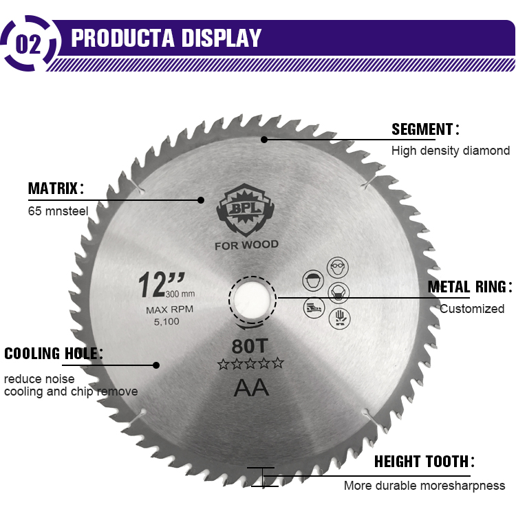 """Hot Pressed Sintered Diamond Saw Blade For Wood 12""""*60T"""