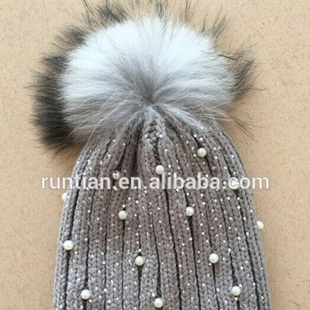 49f7acb44d2 Girls Raccoon Fur Pompom Knit Winter Hat With Pearl - Buy Knit Hat ...