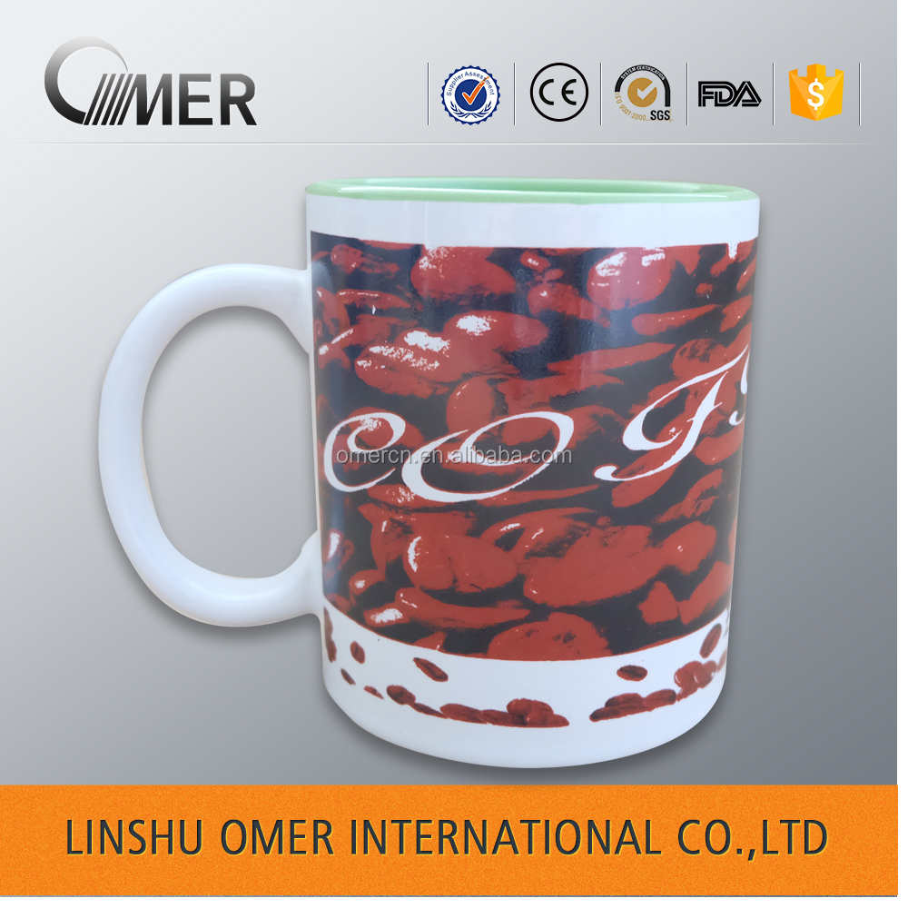 Promotion ceramic glazed wholesale shaving custom printed coffee mug