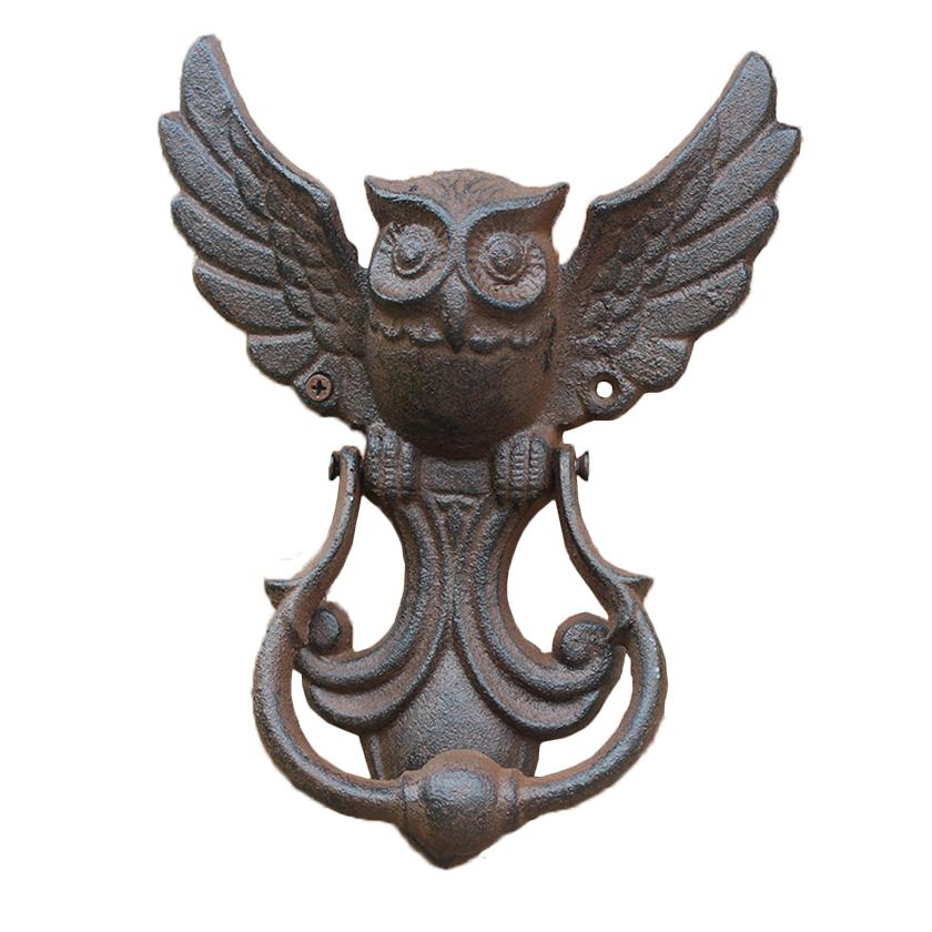 Vintage Rustic Bird Home Decor Antique Owl Cast Iron Door Knocker Accessories