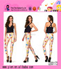 Fashion Hot Cartoon Printed Slimming Trouser Sexy Tight Skinny Casual Ladies Yellow Printed Trouser