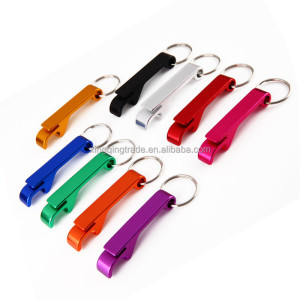 Portable Colorful Pocket Keychain Beer Bottle Opener Bar Mini Beverage Bottle Opener Metal Keychain Ring Can Opener