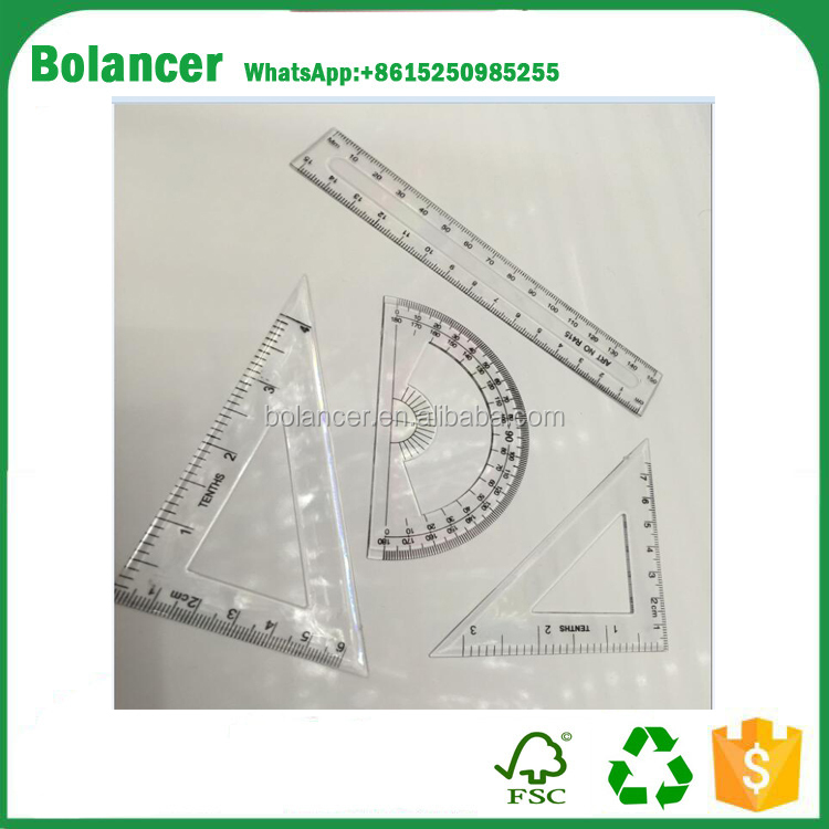 Cheaper School Student Stationery Basic Geometry Ruler Triangle Protractor Combination Ruler Sets