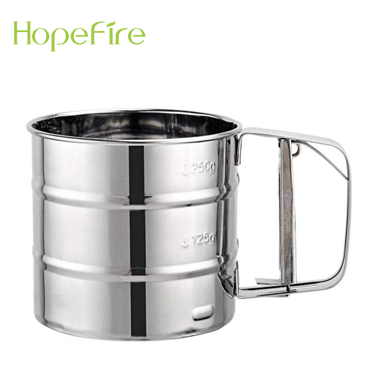 Stainless Steel Flour Sifter Shaker,Stainless Steel Shaker Sieve Cup Mesh Crank Flour Sifter with Measuring Scale for Flour Icing Sugar