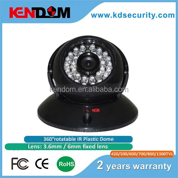420/500/600/700/800/1300TVL 3.6mm- 6mm fixed lens 360 Degree rotatable IR Plastic Dome