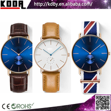 stainless steel 5atm watch water resistant ronda movement blue watch leather or nylon military watch strap