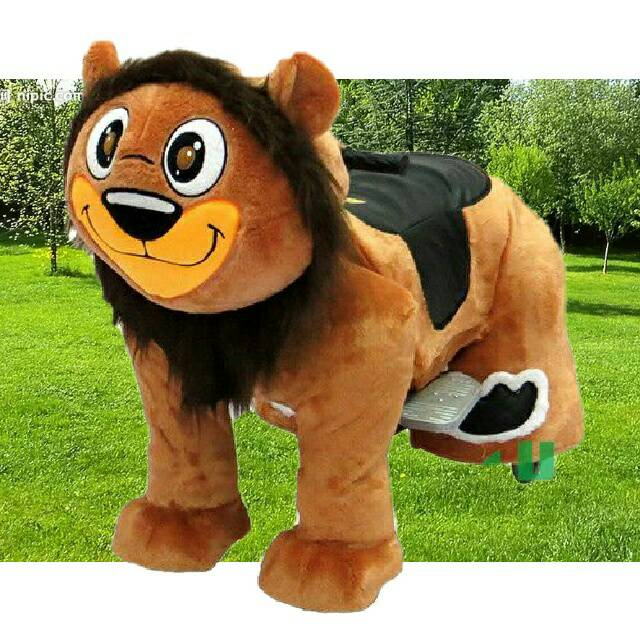 HI CE zoo plush king lion electric animal ride for mall,Coin Operated motorized plush riding animals