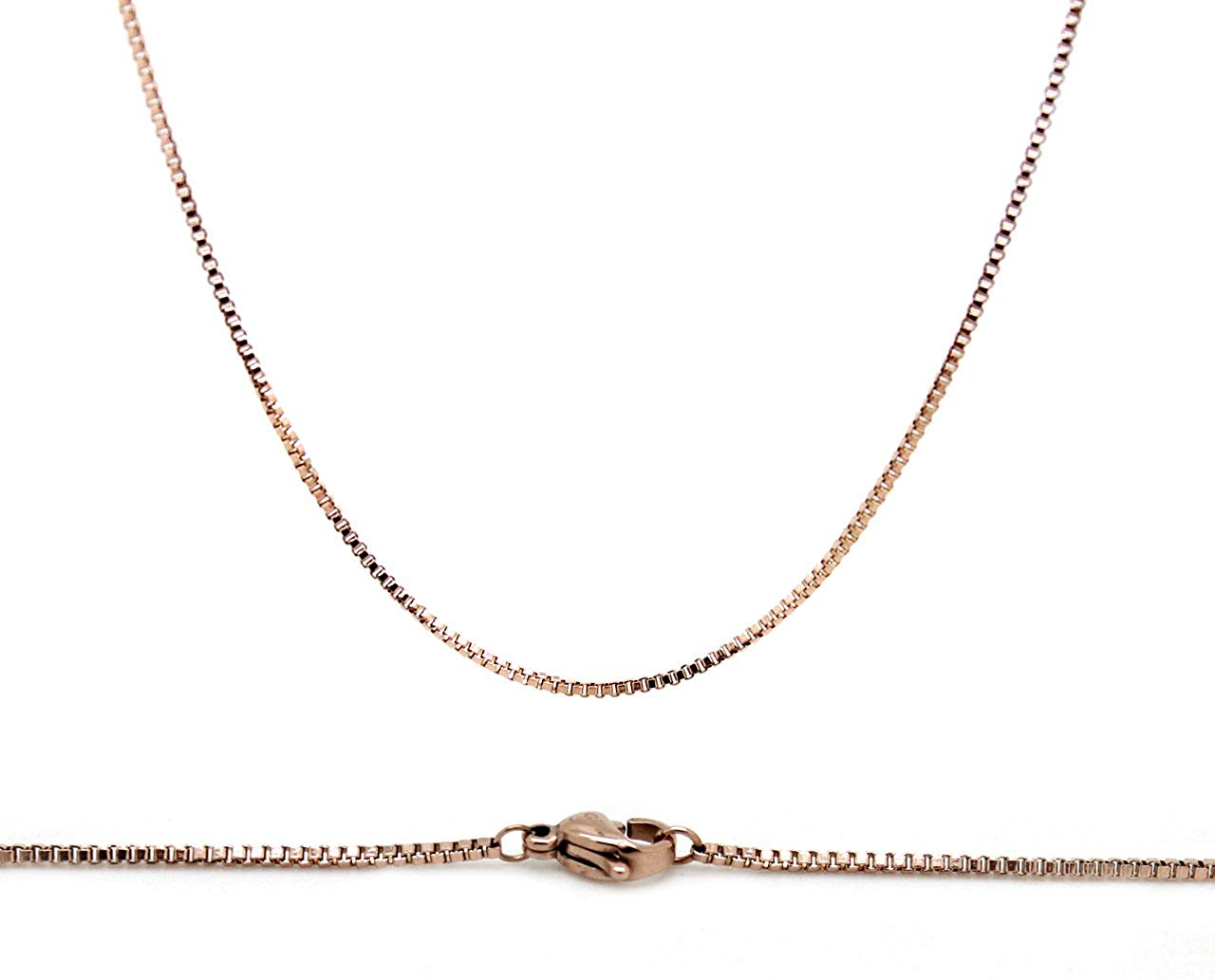 Chelsea Jewelry Basic Collections 1.2mm Wide 18K Rose Gold Ultra Slim Rope Chain Necklace
