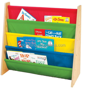 4 tier Kids' Book display Rack wooden bookcase with nylon fabric pockets kids bookcase