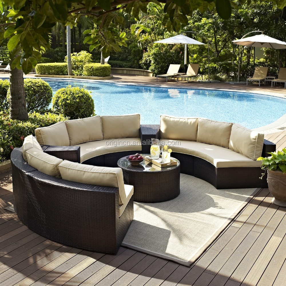 Semi circle patio wicker chairs with sectional arm tables for Outdoor patio furniture