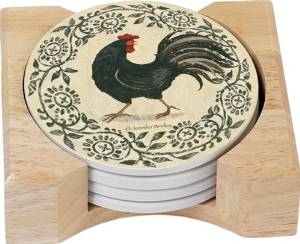 CounterArt Rustic Rooster Design Square Absorbent Coasters in Wooden Holder, Set of 4