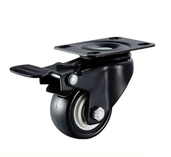 Chinese factories produce gold drill series 1.5 inch brake black PU casters with high quality and low price.