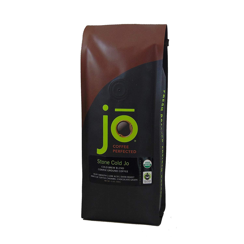 STONE COLD JO: 12 oz, Cold Brew Coffee Blend, Dark Roast, Coarse Ground Organic Coffee, Silky, Smooth, Low Acidity, USDA Certified Organic, Fair Trade Certified, NON-GMO