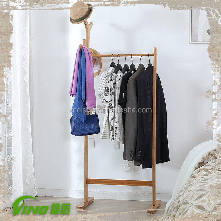 Rustic Freestanding Wood Functional Clothing Display Customized Shabby Chic Stand Hanging Hats Rack