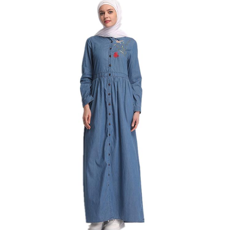 60e8736657e Новые для женщин Исламская скромность кнопка открыть Турции джинсы для абаи  вышивка цветок Макси платье из