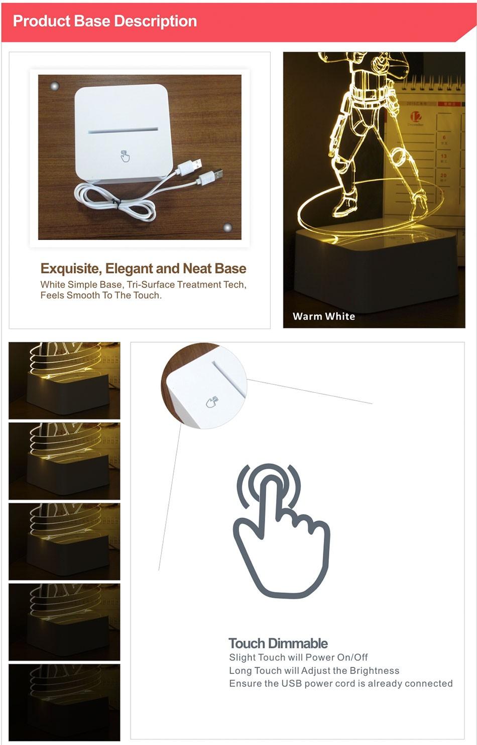 Luz de Noche Led for Star War Fans Imperial Stormtrooper 3D Lamp as Home Decor Bedroom USB Nightlight  (8)