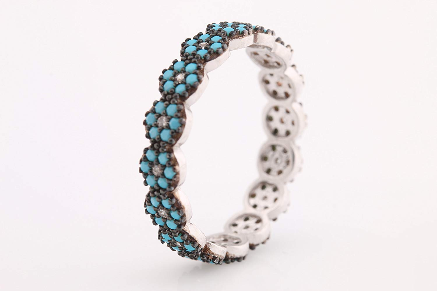 Nathis Turquoise December Birthstone Ring with Twisted Band