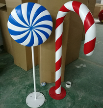 indoor Colorful fiberglass candy cane for 2017 Christmas Decoration