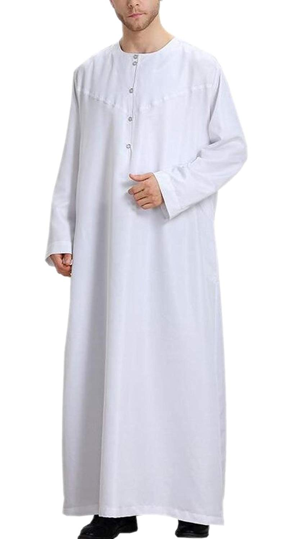 Jotebriyo Men Long Sleeve Abaya Muslim 2 Pcs Outfits Middle East Islamic Set