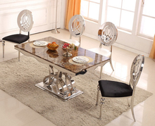 Wholesale marble top rose gold stainless steel base 6 seater dining table