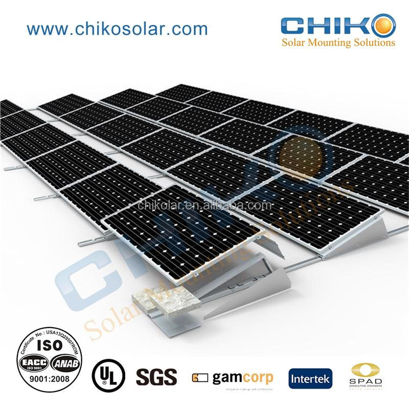 Commercial application solar mounting ballasted for flat roof pv panel system