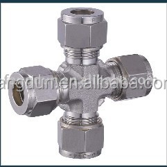 union cross tube fittings/ss 316L four ways union cross tube fitting/compression tube fitting