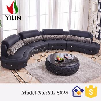 Black Diamond Inlaid Europe Big Lots Half Moon Leather Sectional Sofa