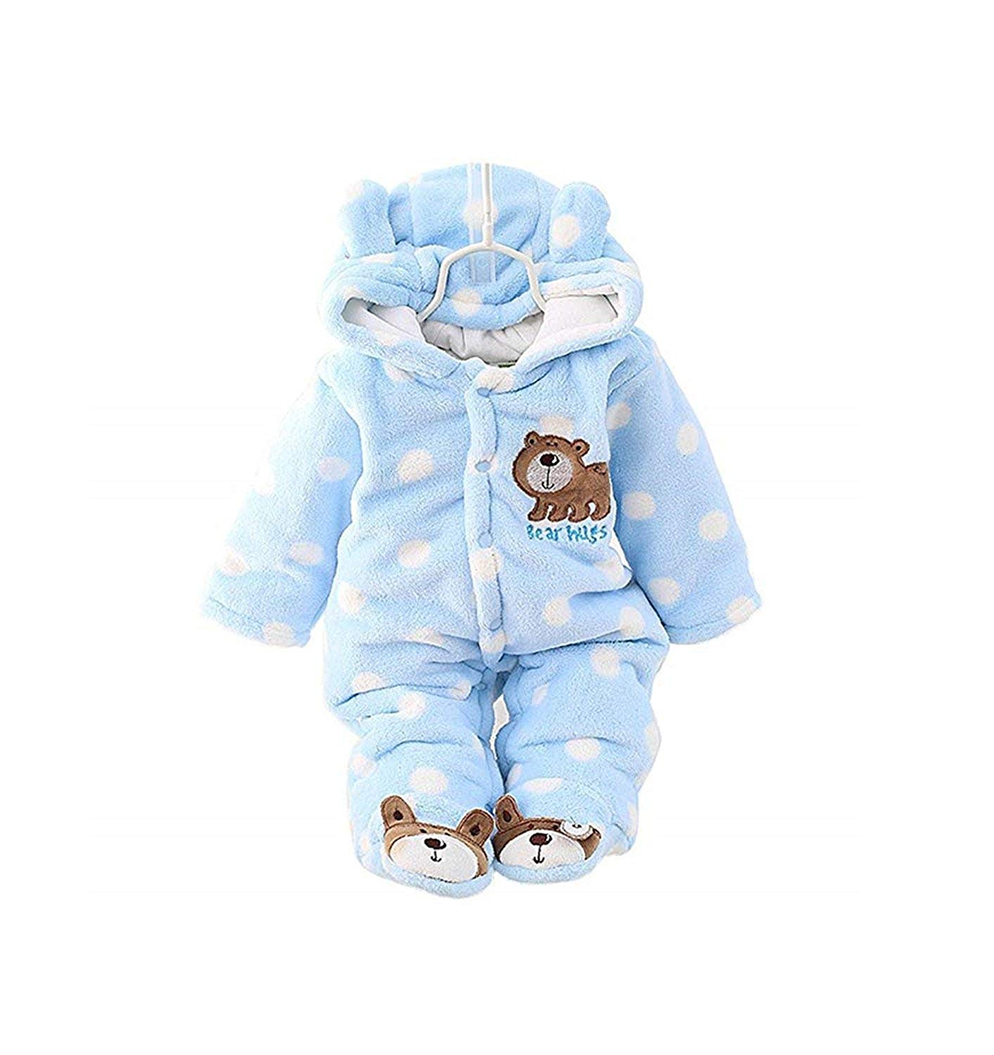 Newborn Snowsuit Baby Boy Winter Bodysuit Clothing,Fleece Romper Cartoon Infant Babies Boy Clothes Snowsuit Blue Jumpsuits