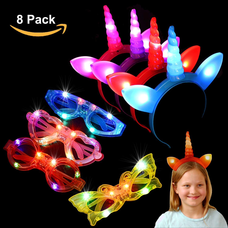 AUHOO Glow Unicorn Party Toys Kids - 4 LED Flashing Unicorn Headbands, 4 Light up Glasses Unicorn Party Halloween Birthday Gift