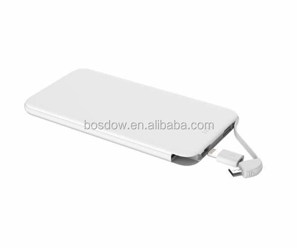 Best slim <strong>portable</strong> built in cable power bank 5000mah with cheap price