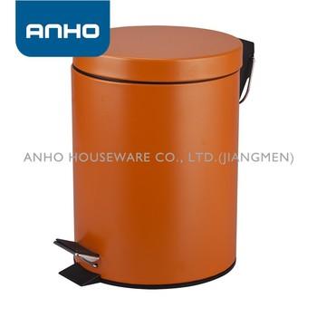 Goede 5l Oranje Ronde Platte Cover Voetpedaal Prullenbak - Buy Oranje NG-47