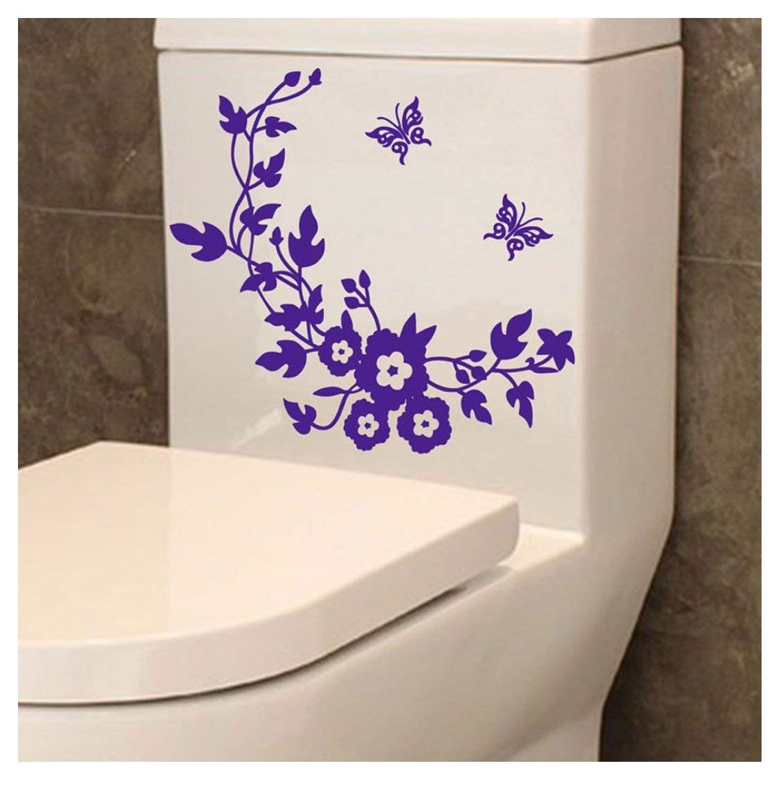 Toilet sticker, Kemilove Toilet Grand Removable Mural Decal Art - Flowers And Vine (Purple)