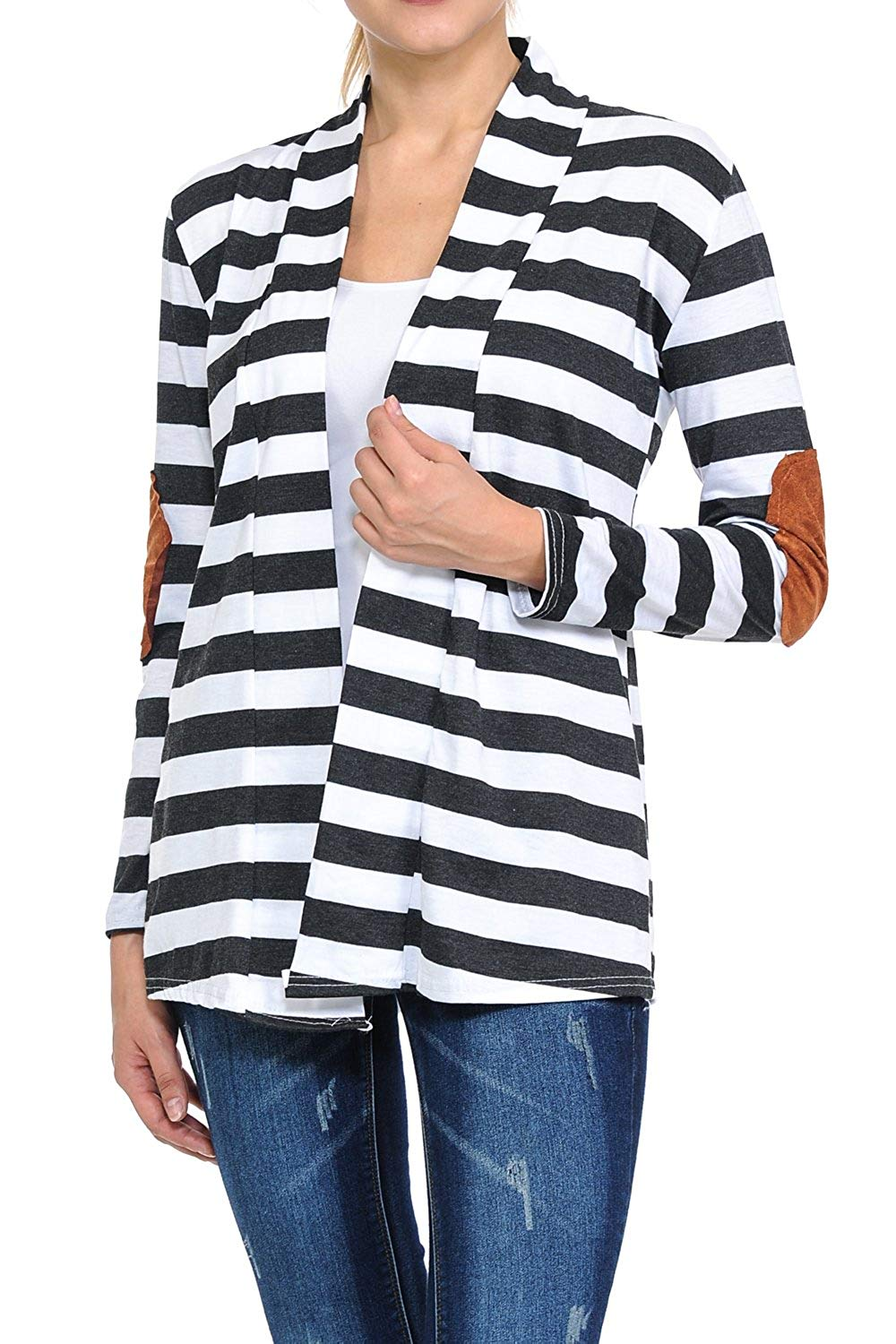 b771ffcf2cf Get Quotations · GUVU Womens Shawl Collar Striped Pattern Long Sleeve Elbow  Patch Open Front Sweater Jacket