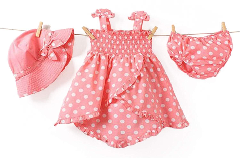 Baby Rae Clothing 3 in 1 Set: Dress+Hat+Underpants -Pink Polkadot
