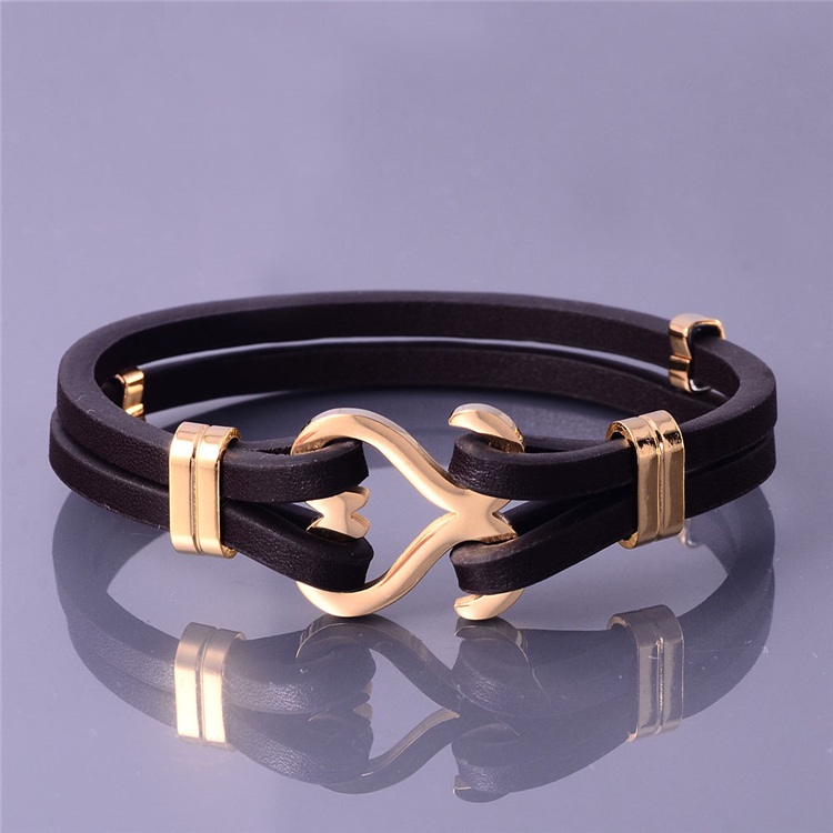 Brown stainless steel love heart men bangle,cheap leather bracelets
