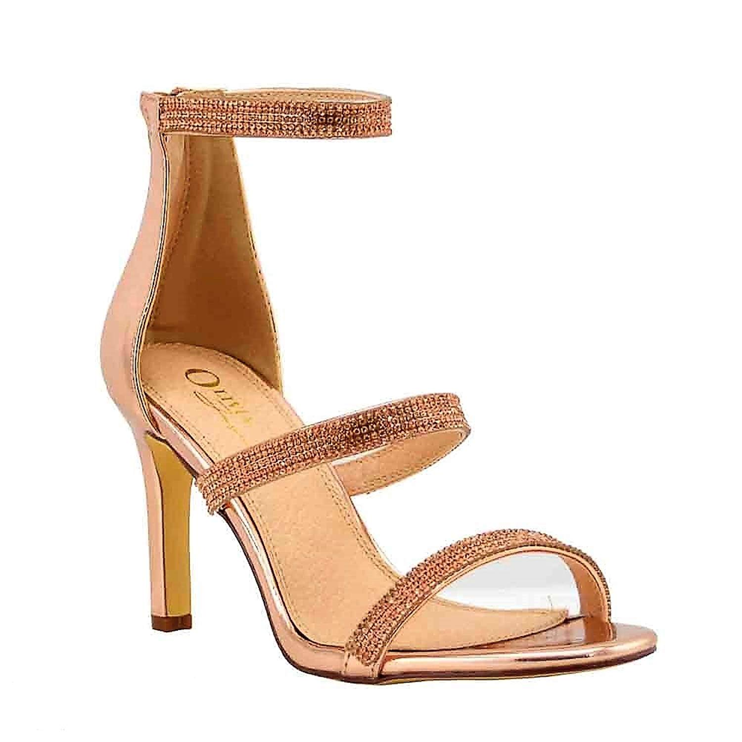 Olivia Jaymes Women's Casual Dress Sandal | Round Open Toe Rhinestone Covered Triple Band | Mid Kitten Heel Sandals