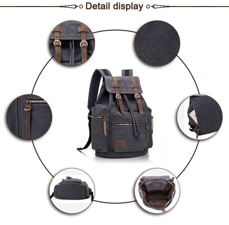 Vintage Casual Outer Canvas Leather School Backpack