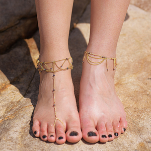 2018 Bohemian Latest Design Gold Iron Reticulation Toe Ring Anklet For Lady