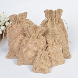 Custom Natural Hemp Drawstring Bags Wholesale Burlap Gift Drawstring Pouch Jute Bags with String
