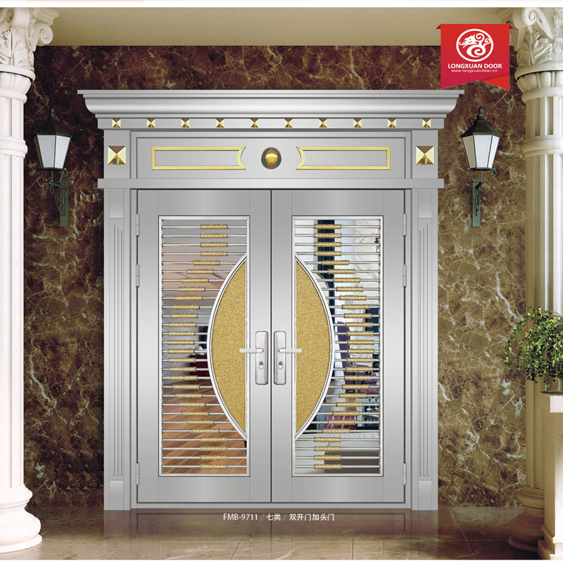 Main gate front door stainless steel security door design for Door design steel