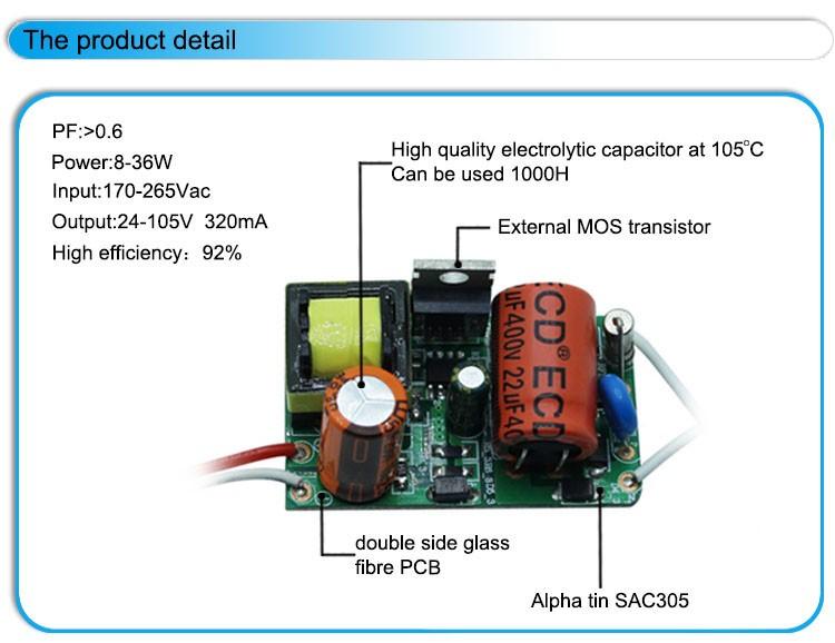 Led Bulb Driver Circuit 8w 12w 28w 36w 320ma Output 24-105v No ...